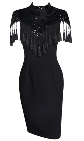 Love You More Black Short Sleeve Mock Neck Sequin Tassel Fringe Bodycon Midi Dress - Sold Out