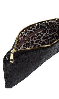 Glam Squad Black Sequin Zipper Clutch Bag - Sold Out
