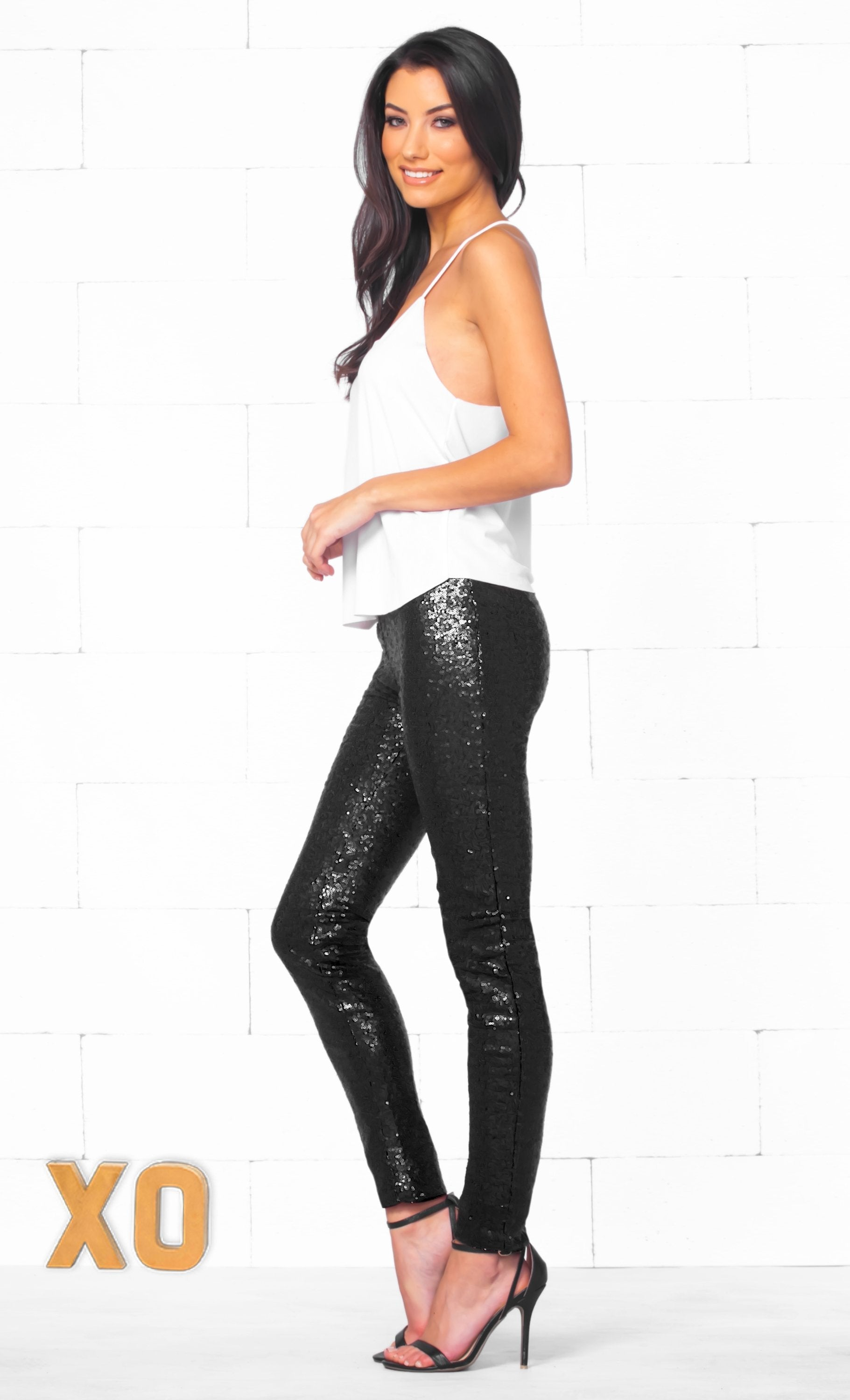 Indie XO Get Your Sparkle On Black Sequin Stretch Leggings with Elastic Waistband - Sold Out
