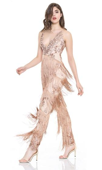 Risky Behavior Sequin Tassel Fringe Sleeveless Spaghetti Strap Plunge V Neck X Back Halter Jumpsuit