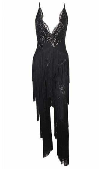 Risky Behavior Sequin Tassel Fringe Sleeveless Spaghetti Strap Plunge V Neck X Back Halter Jumpsuit - 2 Colors Available