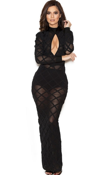 So Worth It Black Sheer Mesh Geometric Diamond Long Sleeve Mock Neck Keyhole Bandage Bodycon Maxi Dress