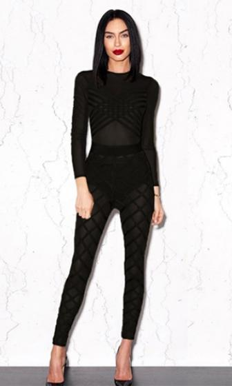 Front And Center Black Sheer Mesh Long Sleeve Crew Neck Bandage Crisscross Bodycon Jumpsuit - Sold Out