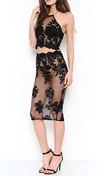 Last Heartache Black Sheer Mesh Lace Sleeveless Halter Crop Bodycon Organza Two Piece Midi Dress - Sold out
