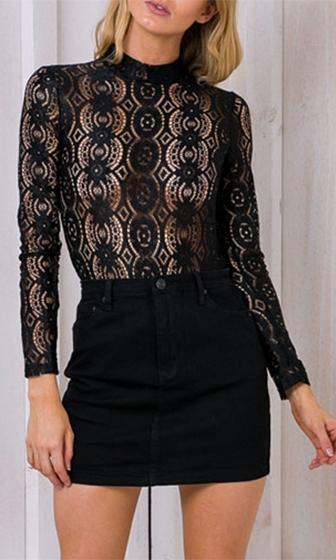 Hidden Guilt Black Sheer Lace Long Sleeve Mock Neck Blouse  -  Sold Out
