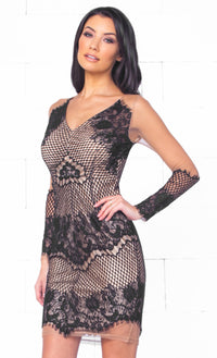 Indie XO Lover's Lane Black Sheer Floral Lace Plunging Deep V Long Scalloped Sleeve Fitted Stretchy Mini Dress - Just Ours!- Sold Out
