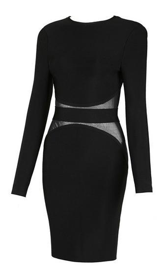 Alter Ego Black Long Sleeve Scoop Neck Sheer Mesh Trim Bodycon Bandage Midi Dress - Inspired by Kylie Jenner - Sold Out