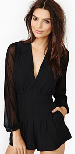 London Calling Black Loose Sheer Long Sleeve Deep V Neck Romper - Sold Out