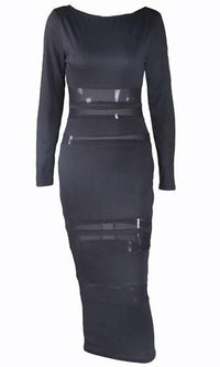 Sheer Encounter Black Velvet Sheer Mesh Stripe Long Sleeve Boat Neck Bodycon Midi Dress - Inspired by Khloe Kardashian - Sold Out