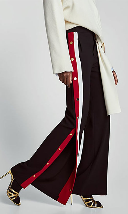 Leisurely Luxe Black Red White Side Snap Stripe Wide Leg Pant