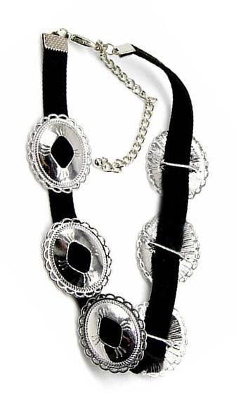 Make Your Mark Black Silver Medallion Leather Choker Necklace