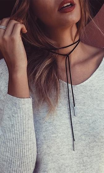 Come To Me Black Silver Suede String Rope Wrap Choker Necklace
