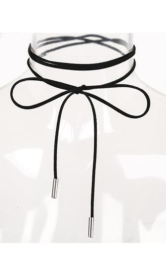 Come To Me Black Silver Suede String Rope Wrap Choker Necklace - Sold Out