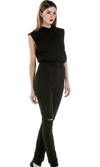 Front Runner Black Sleeveless Crew Neck Elastic Waist Slit Knee Skinny Jumpsuit - Sold Out