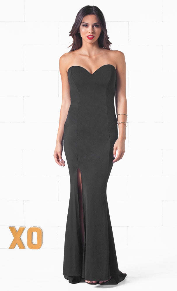 fd618e816a Indie XO Monaco Nights Black Strapless V Neck Bodycon Mermaid Maxi Dress  Gown - Just Ours