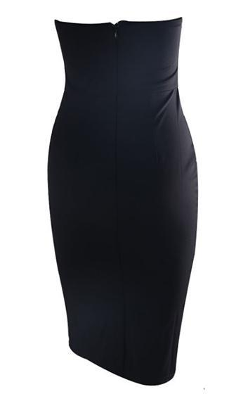 Come Sail Away Black Strapless Metal Button Bodycon Midi Dress