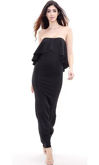 Moment To Remember Black Strapless Ruffle Maxi Dress