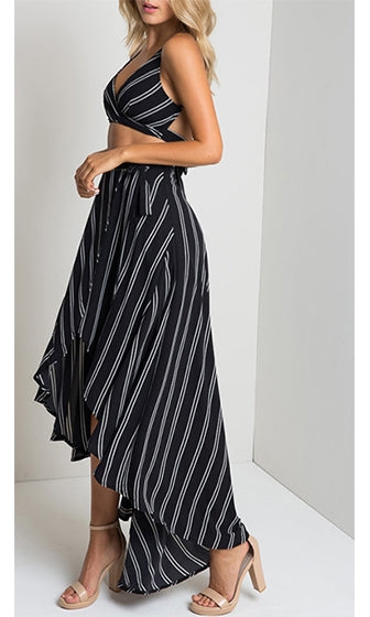Main Line Black White Vertical Stripe Tie Waist High Low Asymmetric Wrap Midi Maxi Skirt - Sold Out