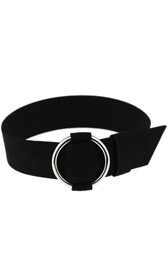 Culture Club Black Suede Metal Ring Choker Necklace