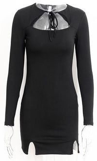 Exit Strategy Black Long Sleeve Cut Out Tie Neck Bodycon Mini Dress - Sold Out