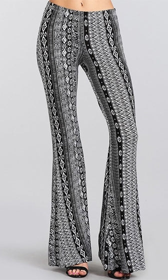 Buena Vista Black Grey White Tribal Elastic Waist Stretch Bell Bottom Flare Leg Pants - Sold out
