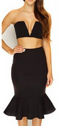 Madison Avenue Black Bodycon Trumpet Mermaid Midi Skirt - Sold Out