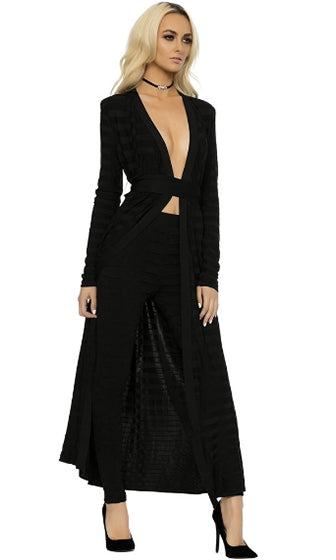 Business Class Long Sleeve Plunge V Neck Long Outerwear Jacket Two Skinny Pant Jacquard Bandage Two Piece Set - 2 Colors Available