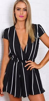 Calling All The Shots Black White Vertical Stripe Short Sleeve Cross Wrap V Neck Tie Waist Short Romper - Sold Out