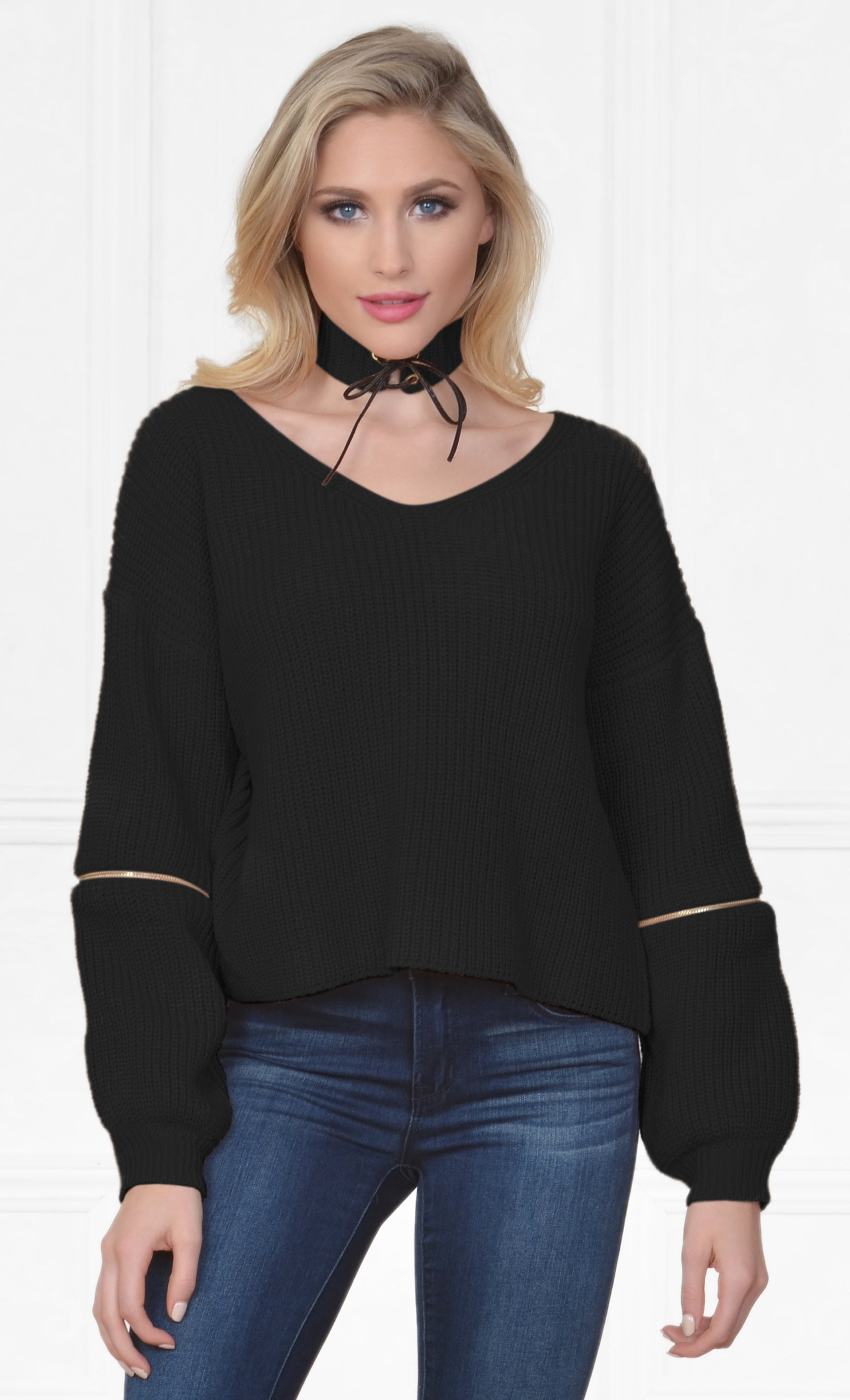 Indie XO Layer By Layer Black Long Sleeve Loose Zipper Elbow V Neck Detachable Choker Pullover Sweater