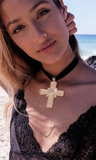Love Again Black Gold Cross Pendant Velvet Choker Necklace