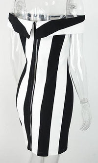 In It To Win It Black White Vertical Stripe Off The Shoulder Bodycon Mini Dress - Sold out