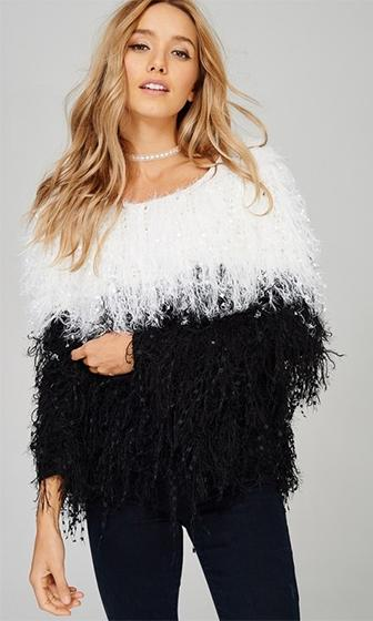 Stone Cold Black White Shaggy Fringe Long Sleeve Scoop Neck Pullover Sweater (Pre-Order)