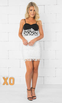 Indie XO Legacy in Lace Black White Two Tone Spaghetti Strap Bra Top Floral Contrast Lace Pencil Skirt Bodycon Dress - Just Ours! Sold Out