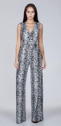 Snake In The Grass Black White Grey Python Sleeveless V Neck Wide Leg Jumpsuit - Sold Out