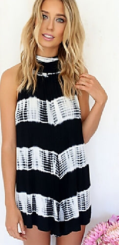 Fit To Be Tied Black White Tie Dye Sleeveless Halter Mock Neck Short Romper