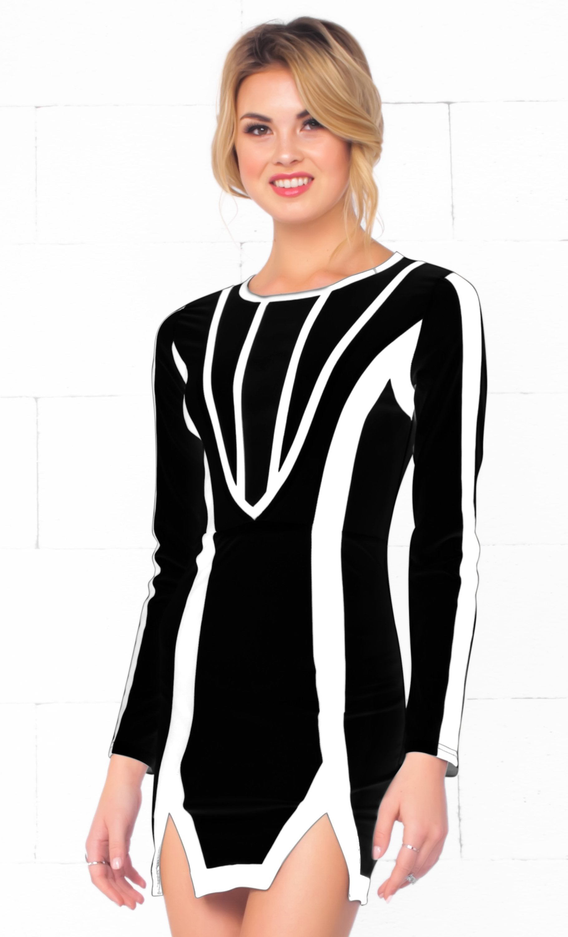 Indie XO Love Fool Black White Scoop Neck Long Sleeve Contrast Slit Hem Bodycon Mini Dress - Just Ours! - Sold Out