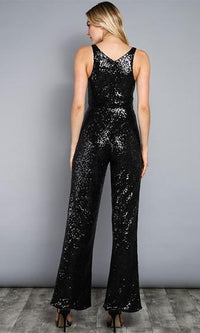I'm Your Addiction Black Sequin Sleeveless V Neck Wide Leg Jumpsuit  -  Sold Out