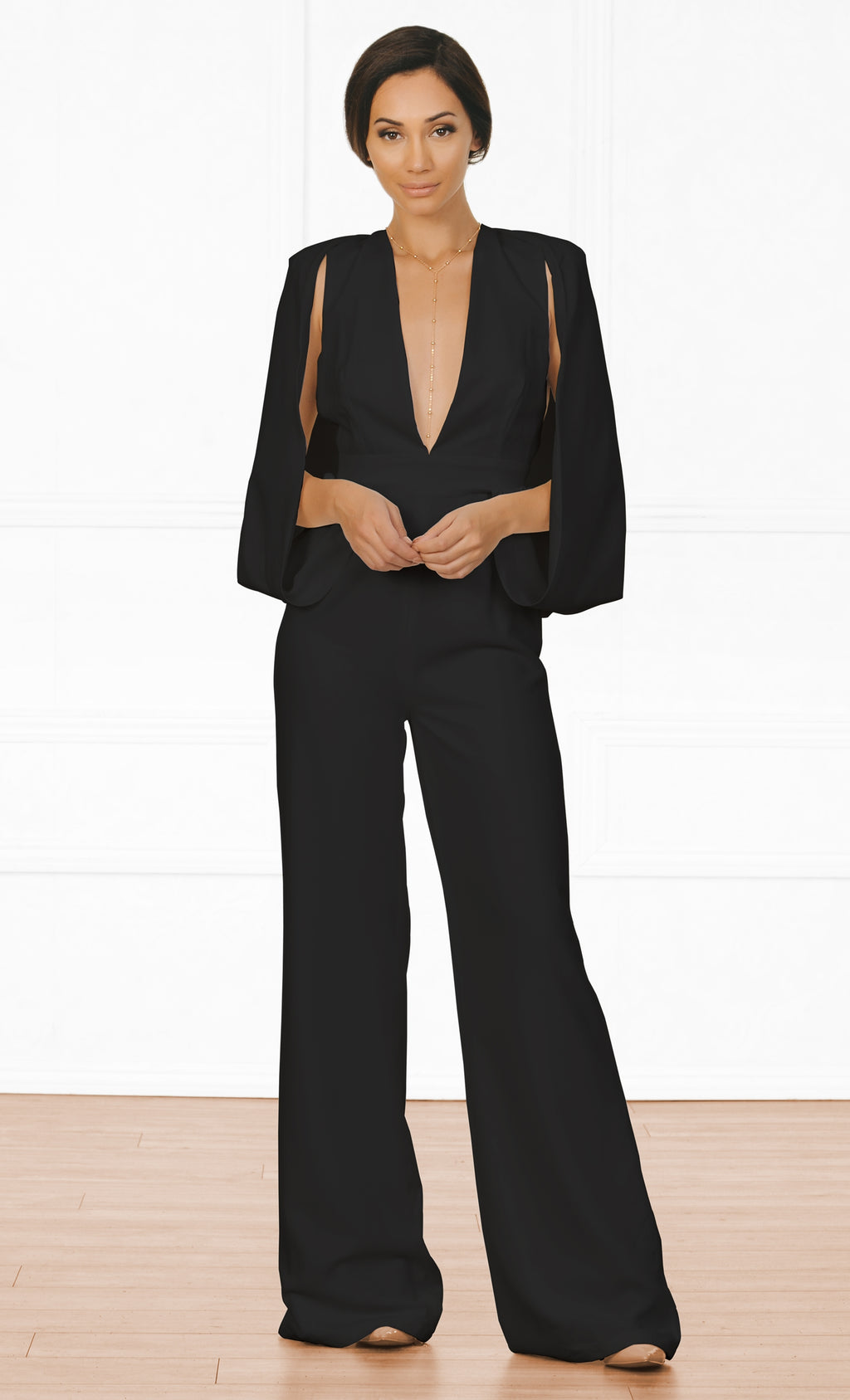 Indie XO Keep It Cool Black 3/4 Elbow Draped Cape Sleeveless Split Sleeve Plunge V Neck Wide Leg Jumpsuit