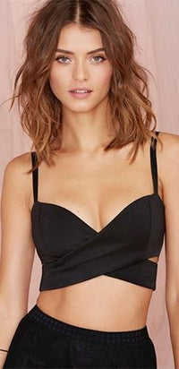 I'm With The Band Black Spaghetti Strap Cross Wrap V Neck Cut Out Crop Tank Top - Sold out