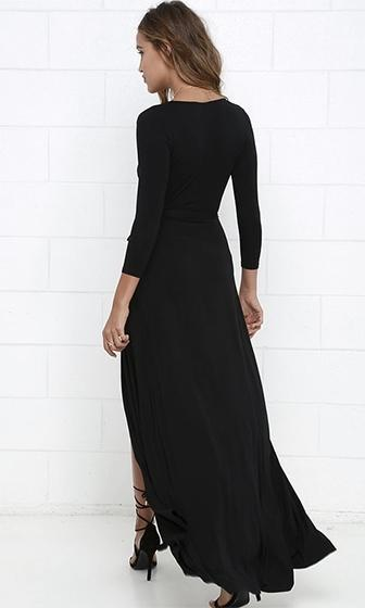 Every Which Way Black 3/4 Sleeve Plunge V Neck Wrap Front Slit Maxi Dress - Sold out