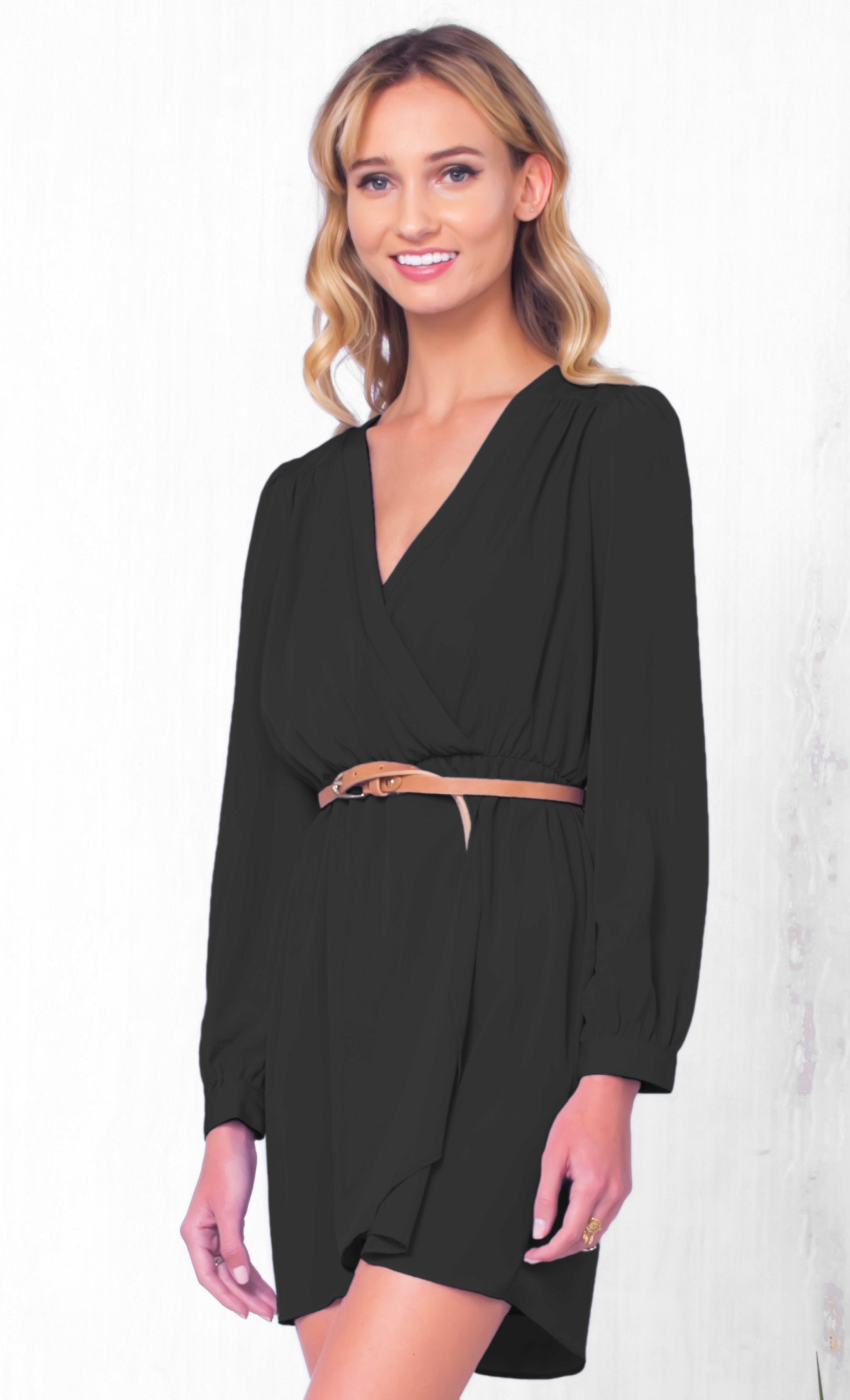 Indie XO That's A Wrap Black Long Sleeve Cross Wrap V Neck Elastic Tulip Chiffon Mini Dress - Just Ours!