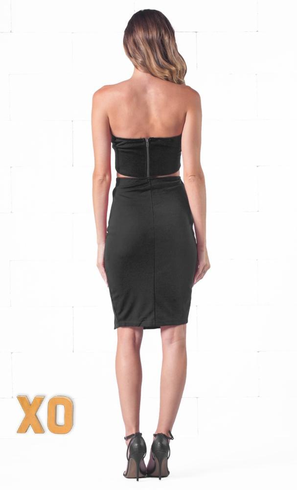 Indie XO Edgy Elegance Black Strapless Crop Plunge V Neck Bustier Top High Waist Side Slit Bodycon Midi Skirt Two Piece Dress - Just Ours! - Sold Out