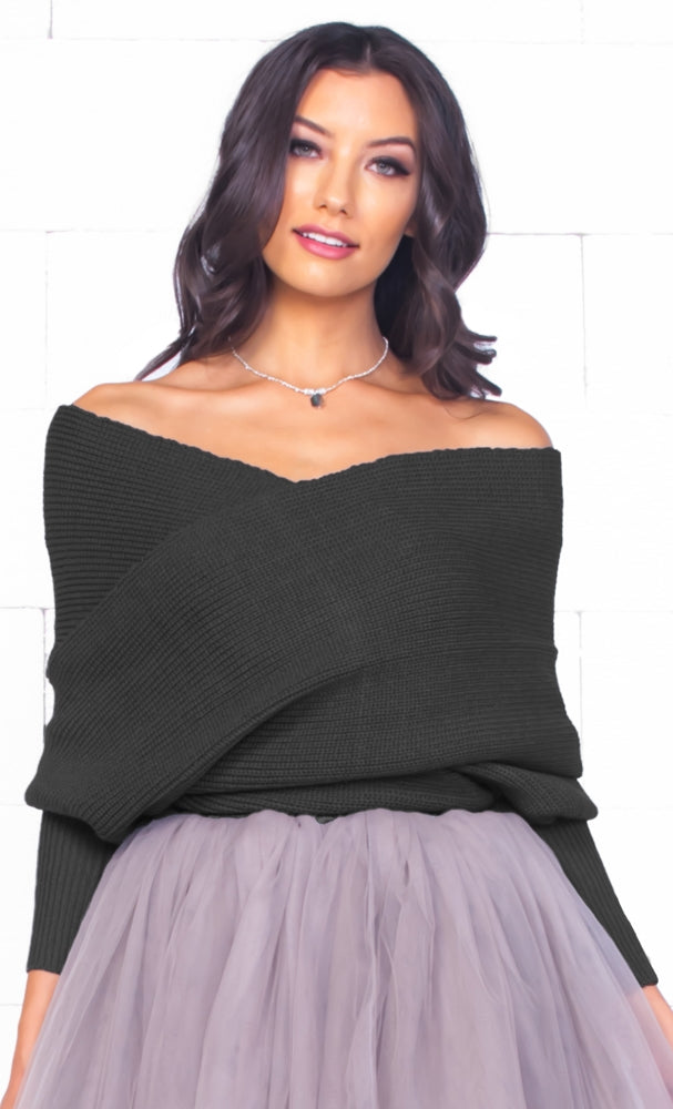 Indie XO Wrapped In Love Black 3/4 Sleeve Off The Shoulder Cross Wrap V Neck Crop Pullover Sweater - Just Ours!
