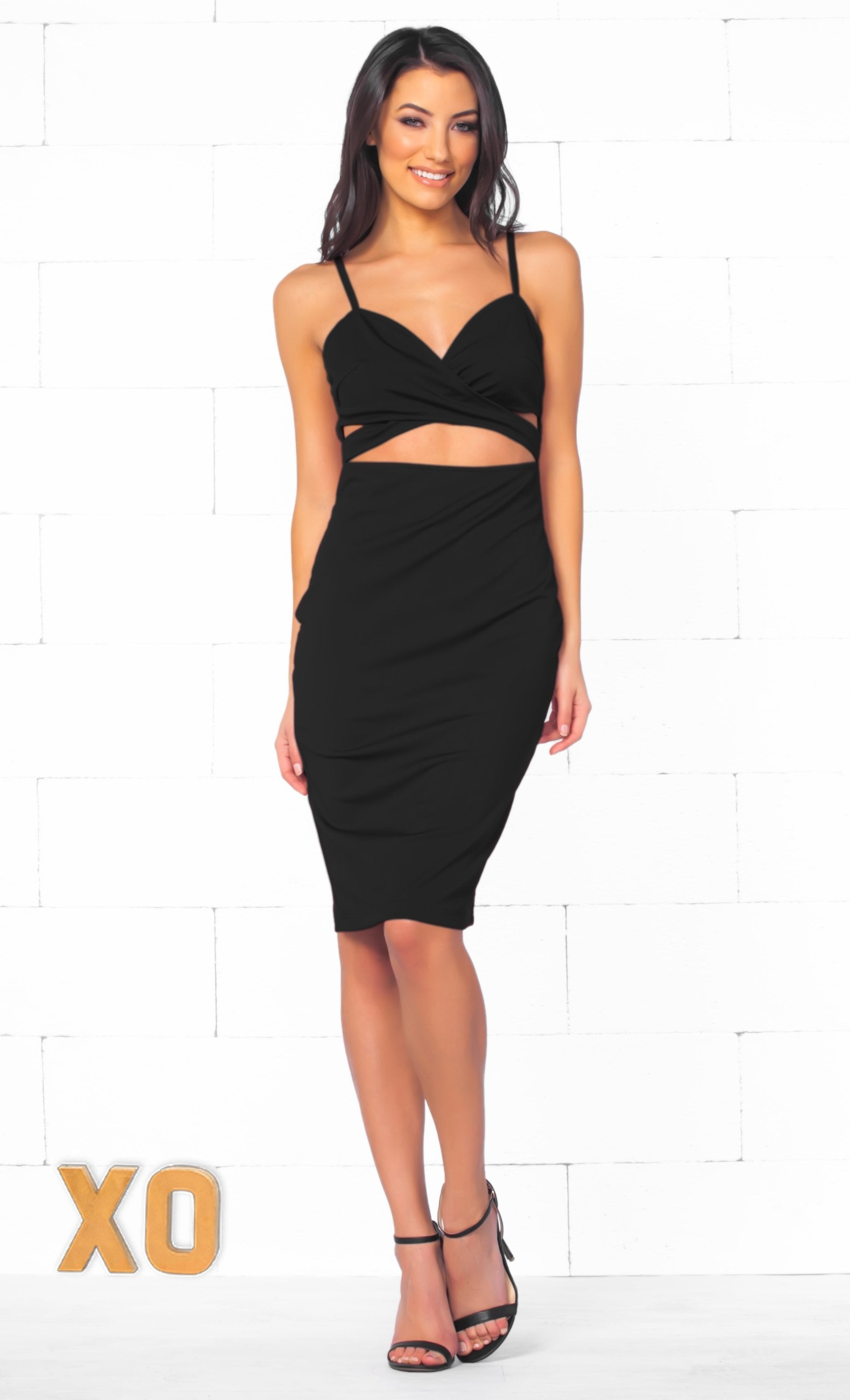 Indie XO Total Bombshell Black Spaghetti Strap V Neck Cut Out Bodycon Midi Dress - Just Ours! - Sold Out