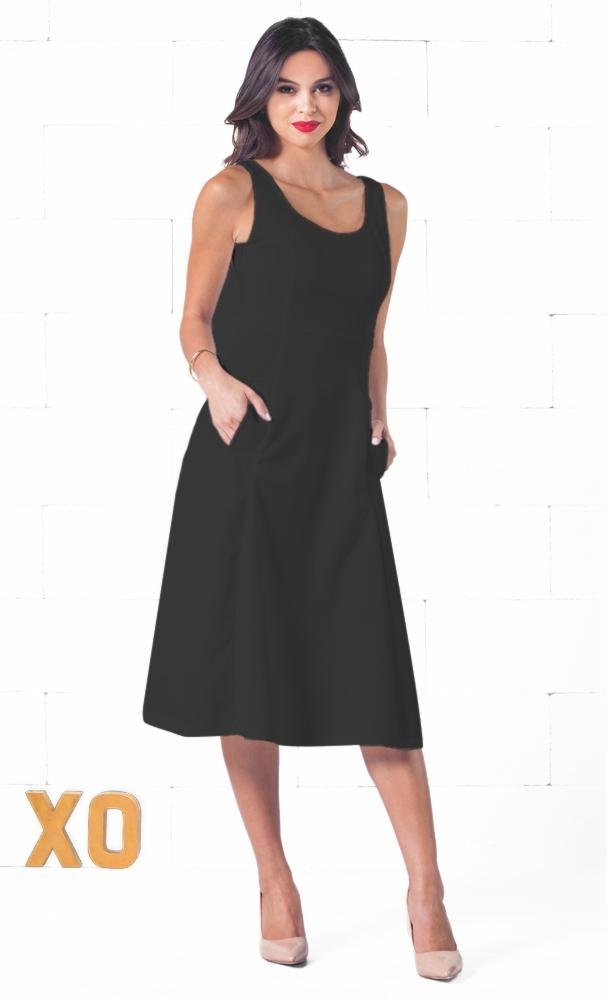 Indie XO Spring Street Black Sleeveless Scoop Neck Circle A Line Flare Midi Dress - Just Ours!