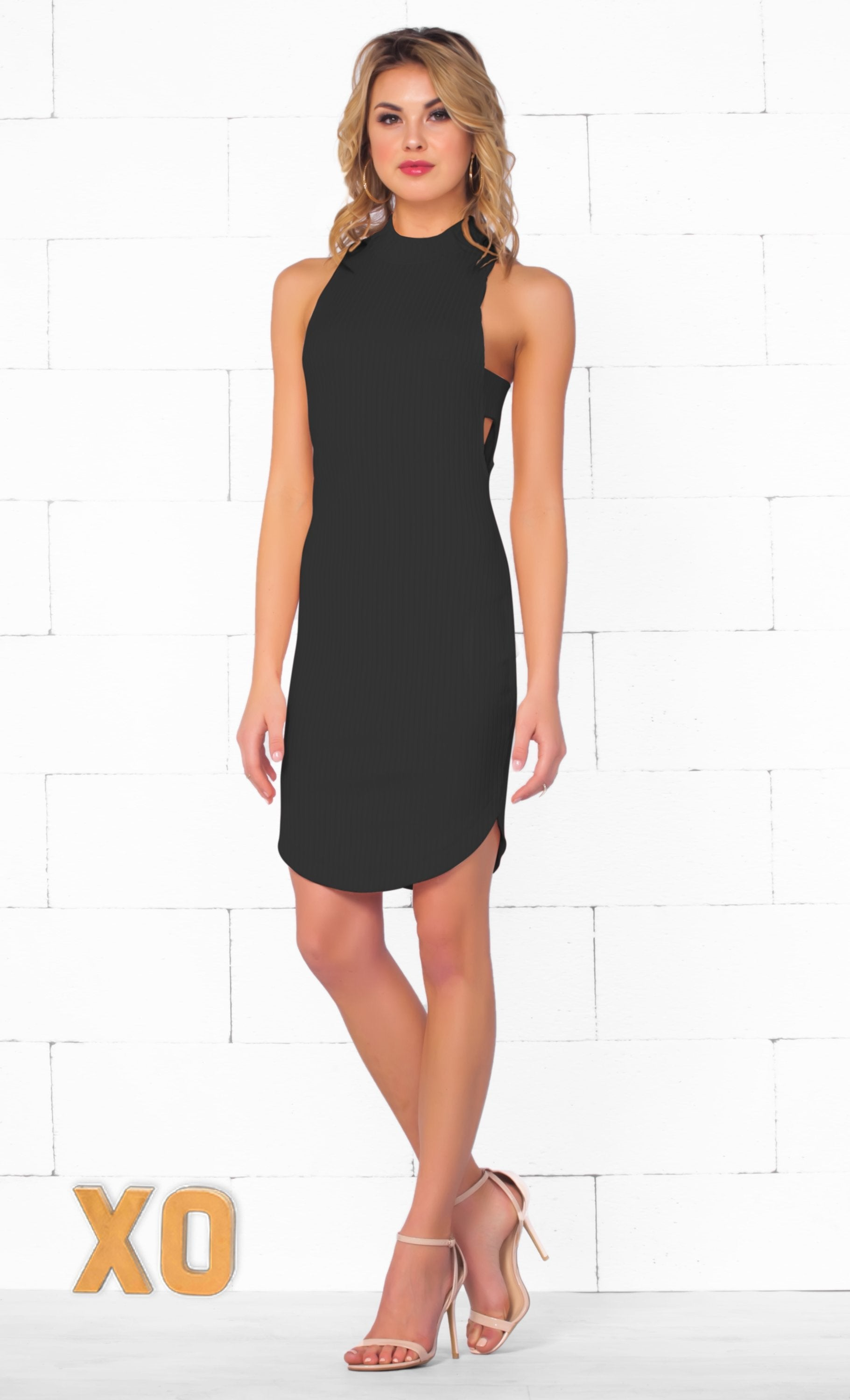 Indie XO Falling For You Black Sleeveless Ribbed Mock Neck Cut Out Bodycon Mini Dress - Just Ours! - Sold Out