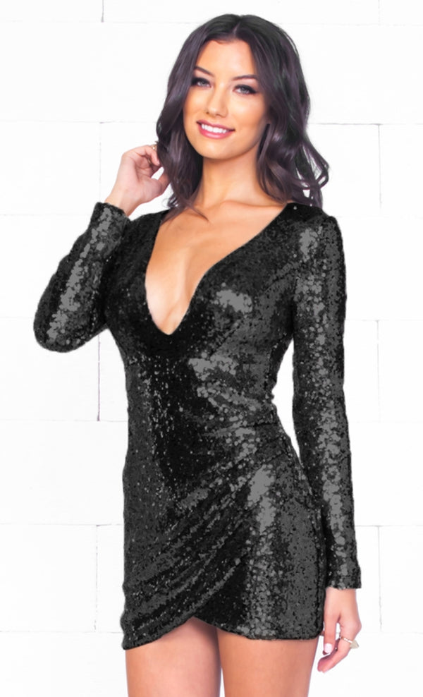 3bda55edd5 Indie XO Night Queen Black Sequin Long Sleeve Cross Wrap V Neck Tulip Mini  Dress -