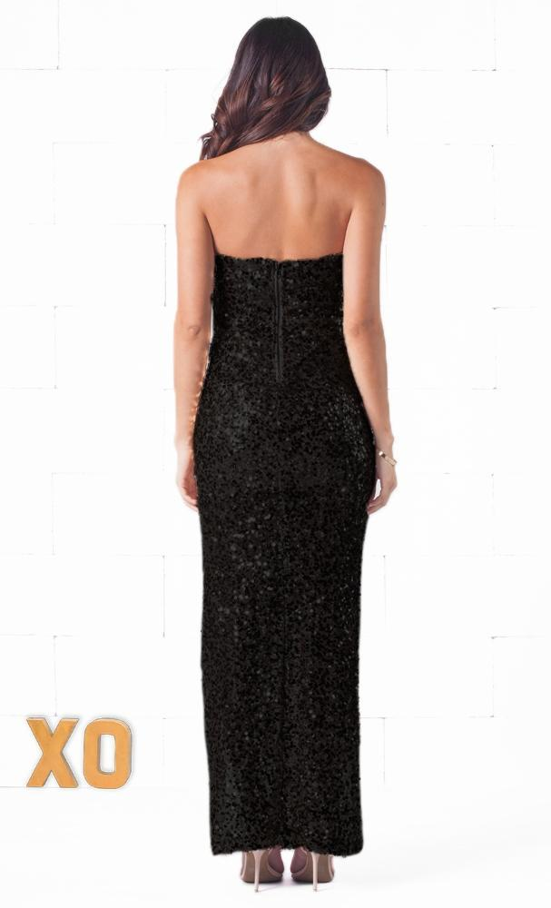 Indie XO Glimmer Girl Black Strapless Sexy Slit Thigh Maxi Dress - Just Ours! - Sold Out