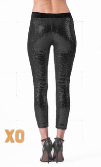 Indie XO Black Sequin Sequins Sequined Stretch Elastic Waist Cropped Leggings Pants - Just Ours! - Sold Out