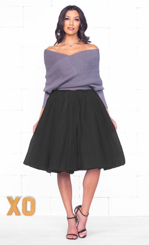 Indie XO 7 Layer On Pointe Black Tulle Pleated Ballerina A Line Full Midi Skirt - Just Ours!